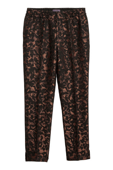 Jacquard-weave suit trousers - Black/Leopard print - Men | H&M IE