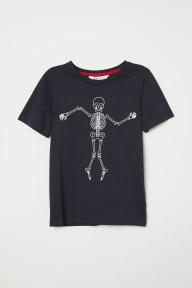 Printed T-shirt - Black/Skeleton - Kids | H&M CN