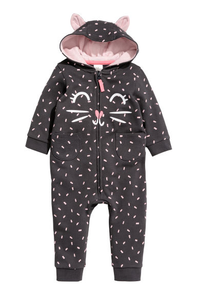 Sweatshirt all-in-one suit - Dark grey/Cat -  | H&M