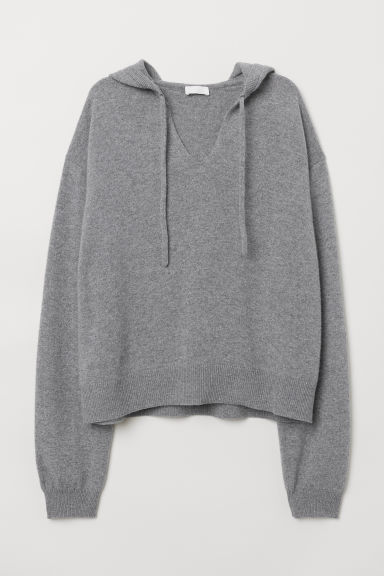 Cashmere hooded jumper - Grey marl - Ladies | H&M CN