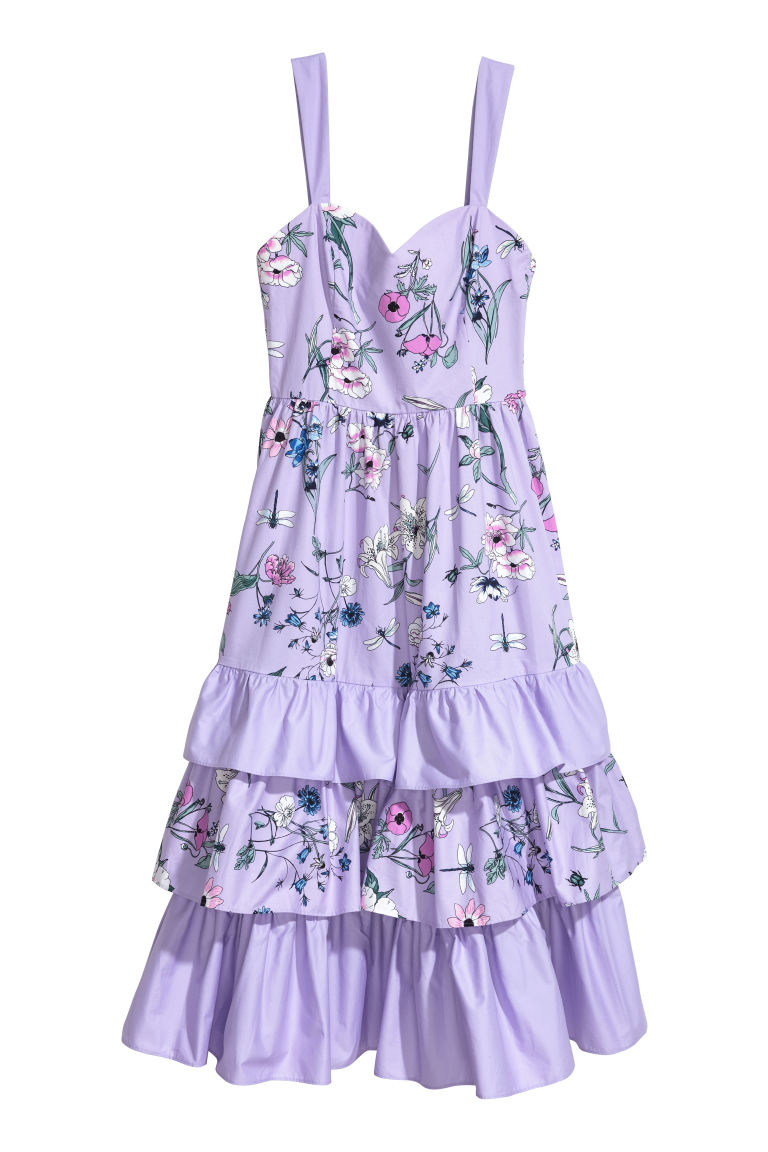 Long tiered dress - Light purple/Floral - Ladies | H&M