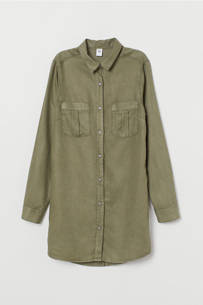1172bd6e950 ... Long Shirt - Khaki green - Ladies
