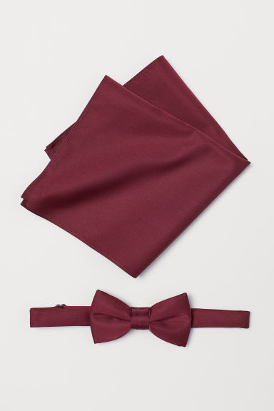 Bow tie and handkerchief - Burgundy - Men | H&M CN