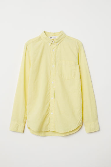 Long-sleeved cotton shirt - Light yellow - Kids | H&M