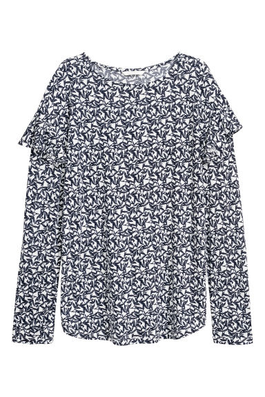 Long-sleeved flounced top - White/Floral - Ladies | H&M