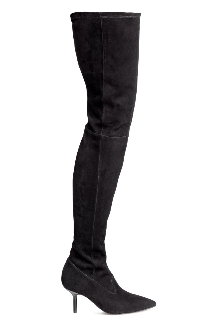 Suede thigh boots - Black - Ladies | H&M