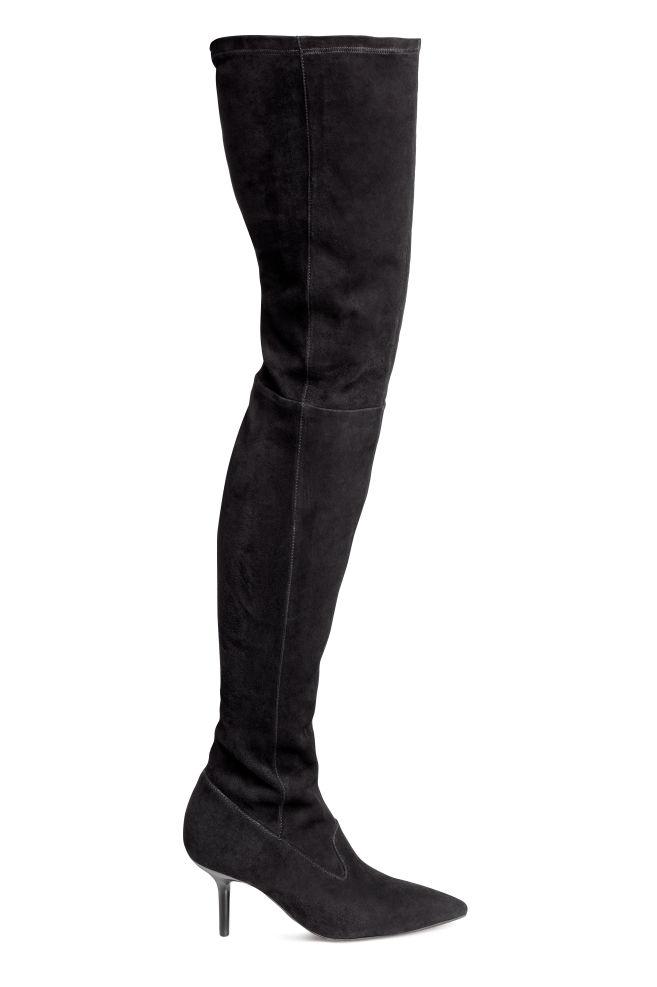 473edce28f Semišové čižmy nad kolená - čierna - ŽENY
