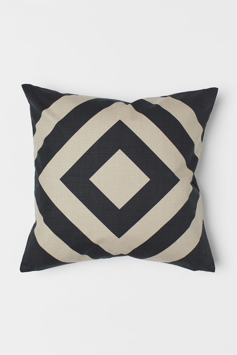 Patterned cushion cover - Black/Light beige - Home All | H&M CN