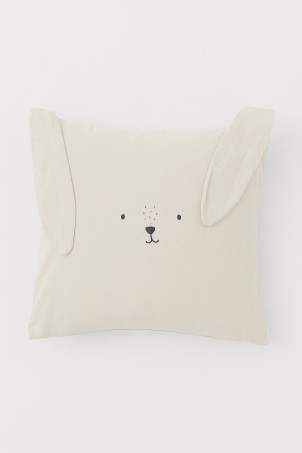 Ear-appliquéd cushion cover