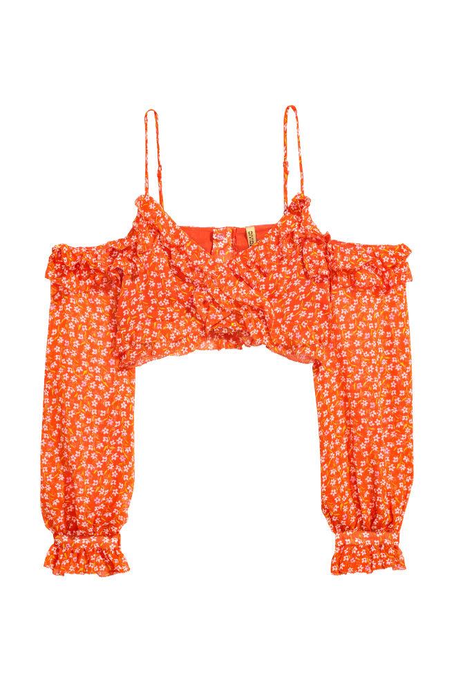 a4c3135ae008e2 Cold shoulder top - Orange Floral -