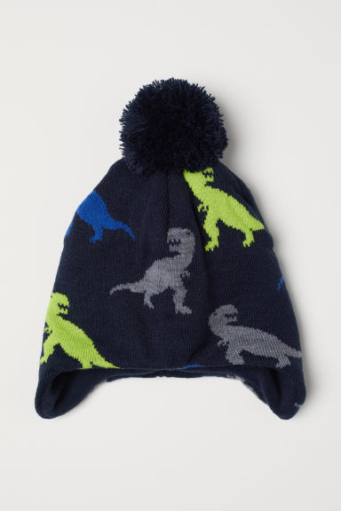 Fleece-lined hat with earflaps - Dark blue/Dinosaurs -  | H&M