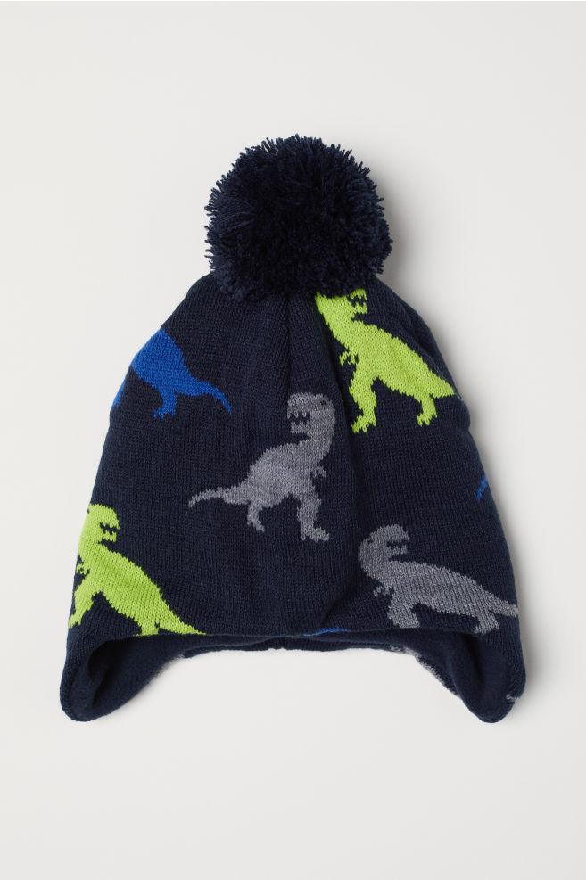 ecf0cc2f493bd Gorro con orejeras - Azul oscuro Dinosaurios - NIÑOS