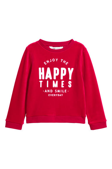 Sweatshirt with a print motif - Red/Happy Times - Kids | H&M CN