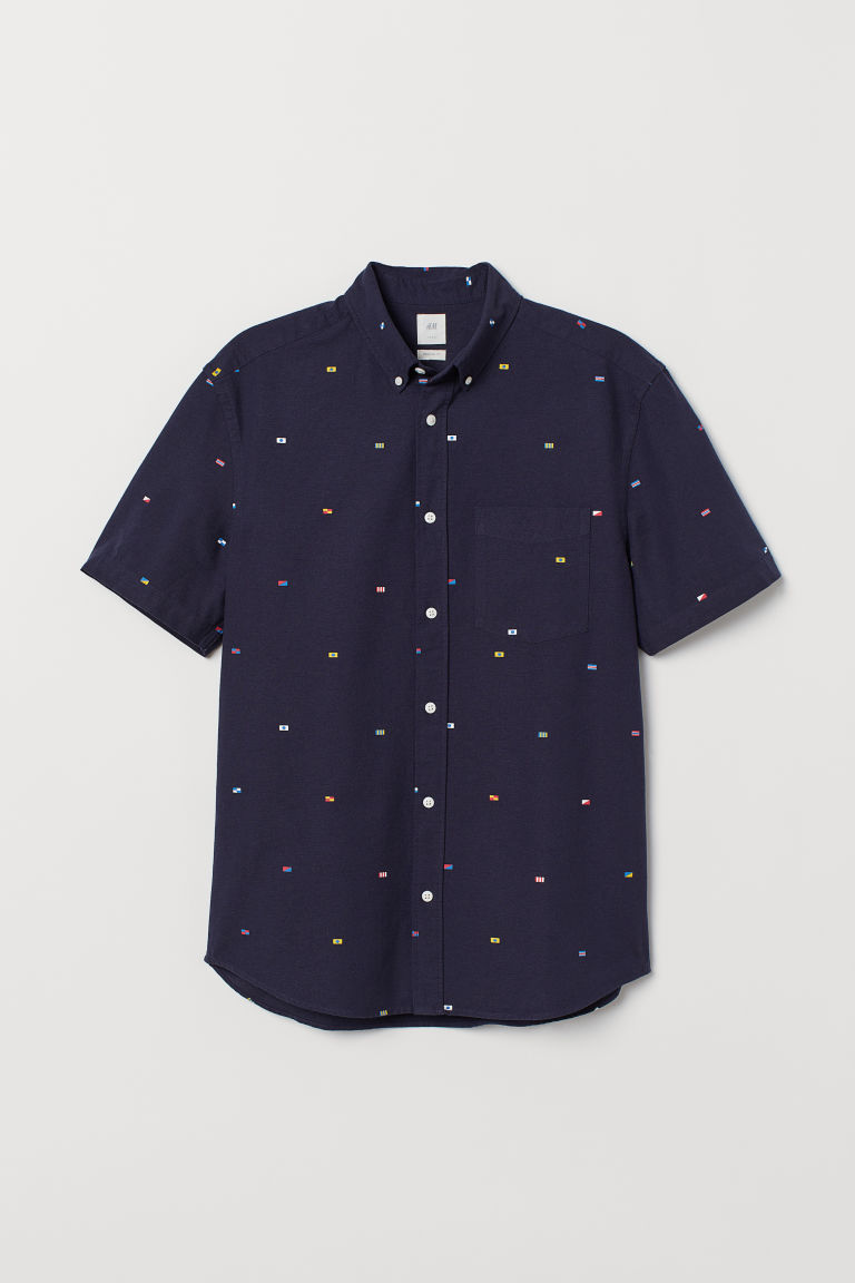 Oxford shirt Regular Fit - Dark blue/Flags - Men | H&M