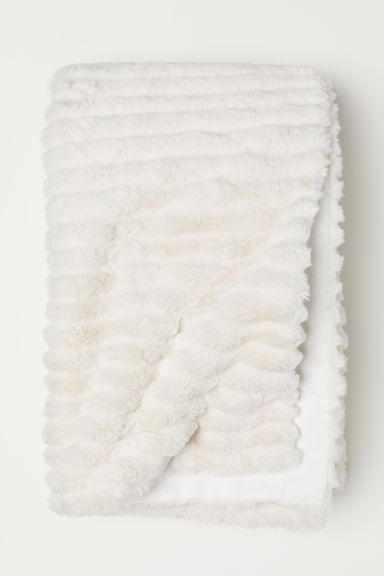 Faux fur blanket - White - Home All | H&M CN