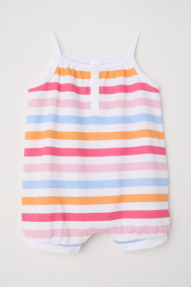 Cotton romper suit - White/Striped - Kids | H&M CN