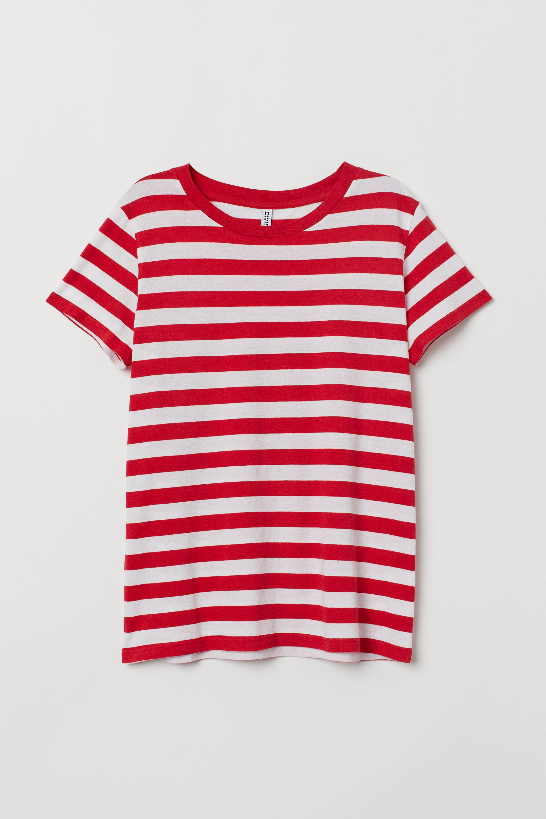 42b1e1d608b9 Jersey T-shirt - Red/white striped -   H&M US