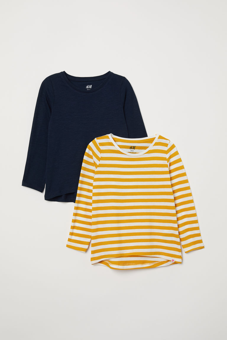 2-pack jersey tops - Mustard yellow/Striped - Kids | H&M