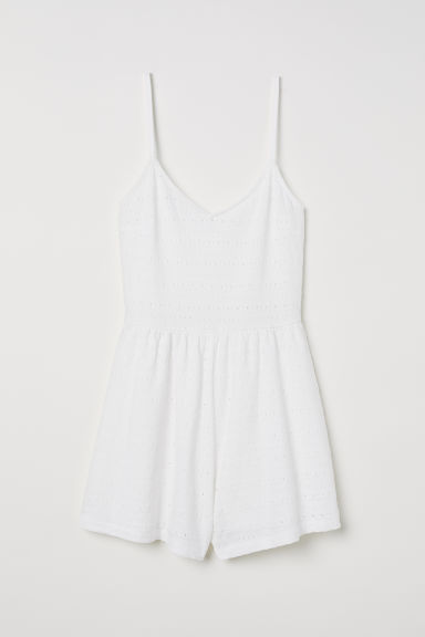 Tuta corta con sangallo - Bianco - DONNA | H&M IT