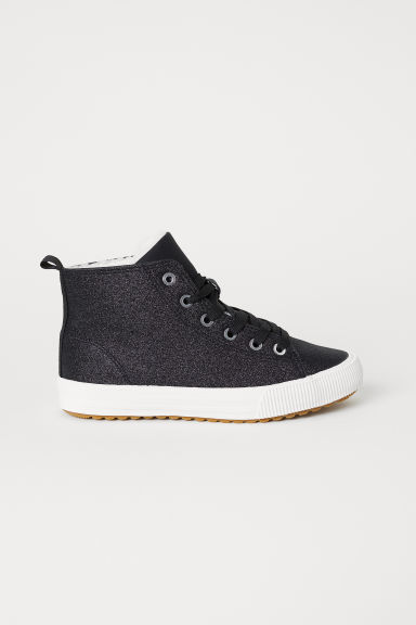 Pile-lined hi-tops - Black/Glittery - Kids | H&M