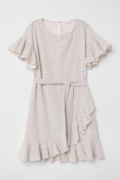 Patterned flounced dress - White/Patterned - Ladies | H&M