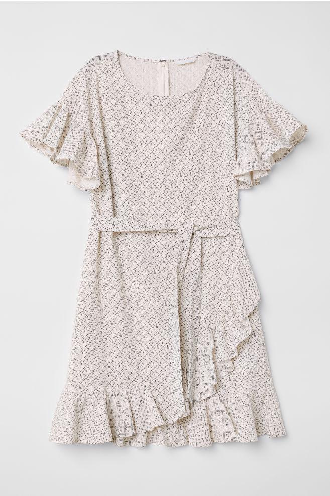 5cf64ed7ad8c2 Desenli ve Farbalalı Elbise - Beyaz/Desenli - KADIN | H&M ...