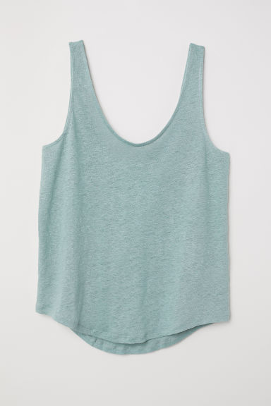 Linen jersey top - Dusky green - Ladies | H&M