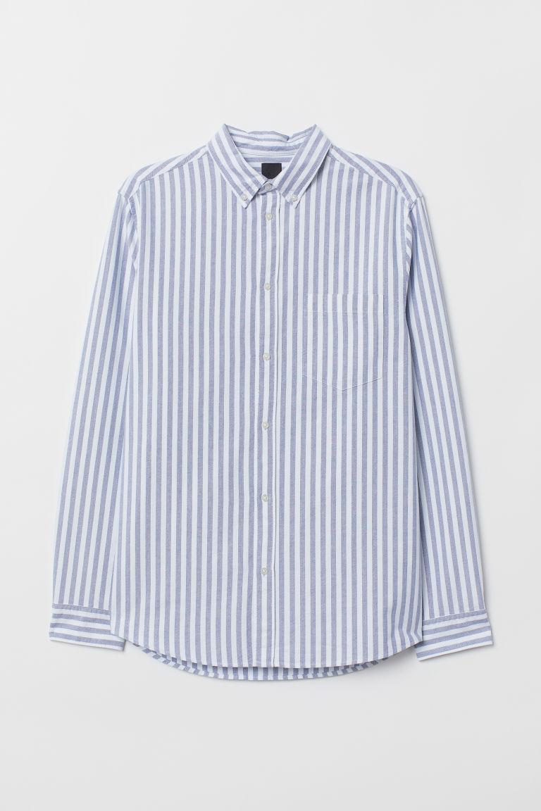Oxford shirt Regular Fit - Light blue/White striped - Men | H&M IE