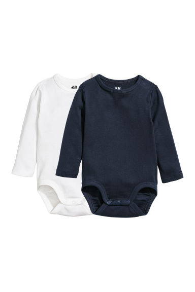 2-pack long-sleeved bodysuits - Dark blue/White -  | H&M
