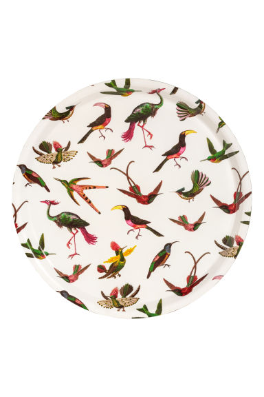 Round tray - White/Birds - Home All | H&M GB