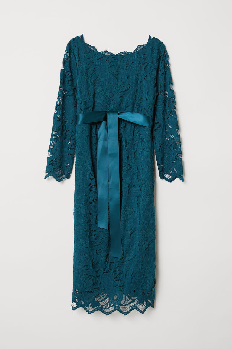 MAMA Lace dress - Dark turquoise - Ladies | H&M IE