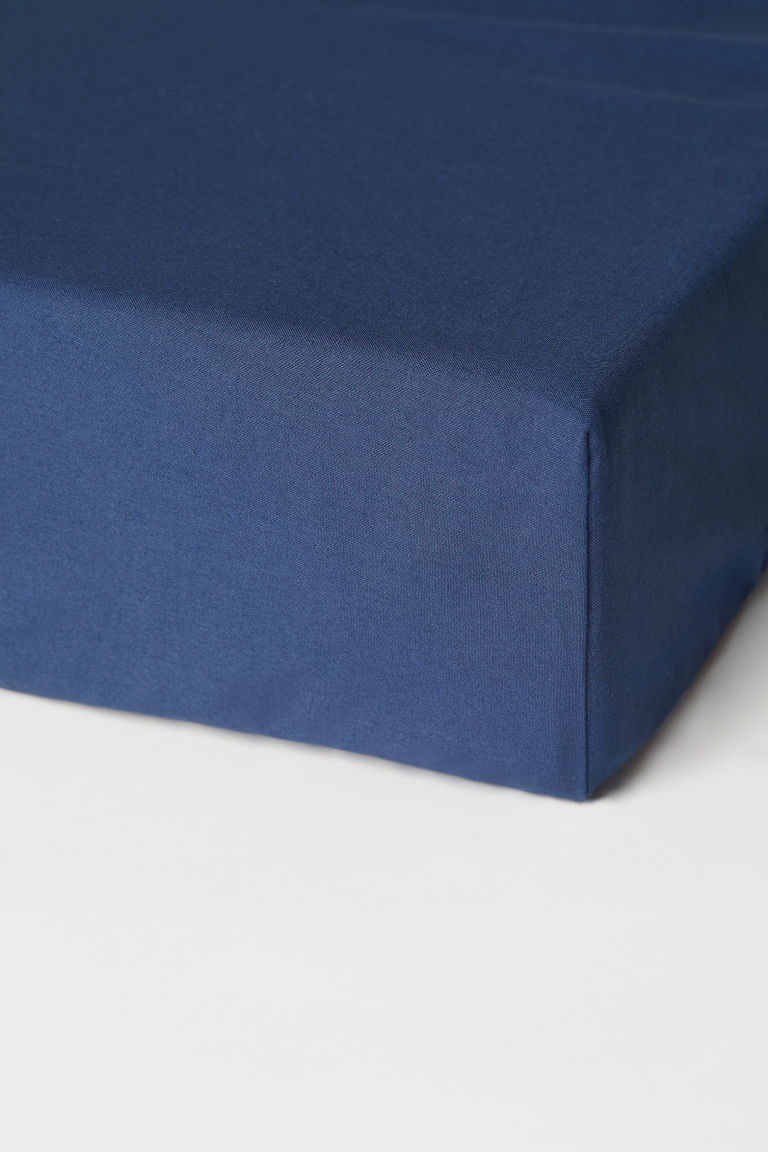 Fitted cotton sheet - Dark blue - Home All | H&M CN