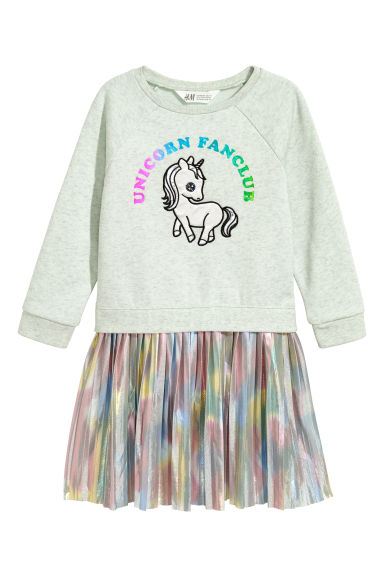 Sweatshirt dress - Mint green/Metallic - Kids | H&M