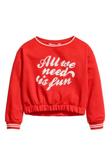Printed sweatshirt - Bright red -  | H&M CN