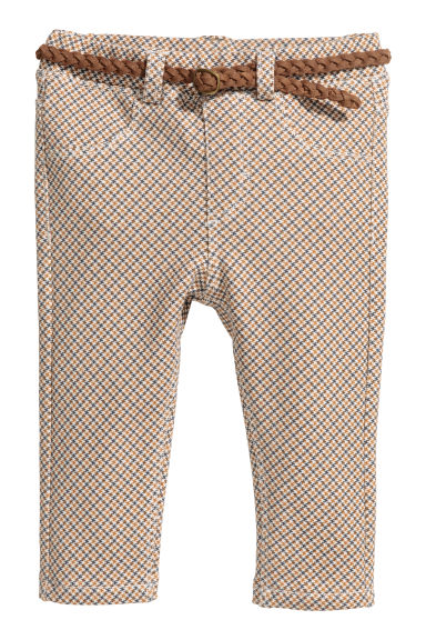 Trousers with a belt - Beige -  | H&M GB
