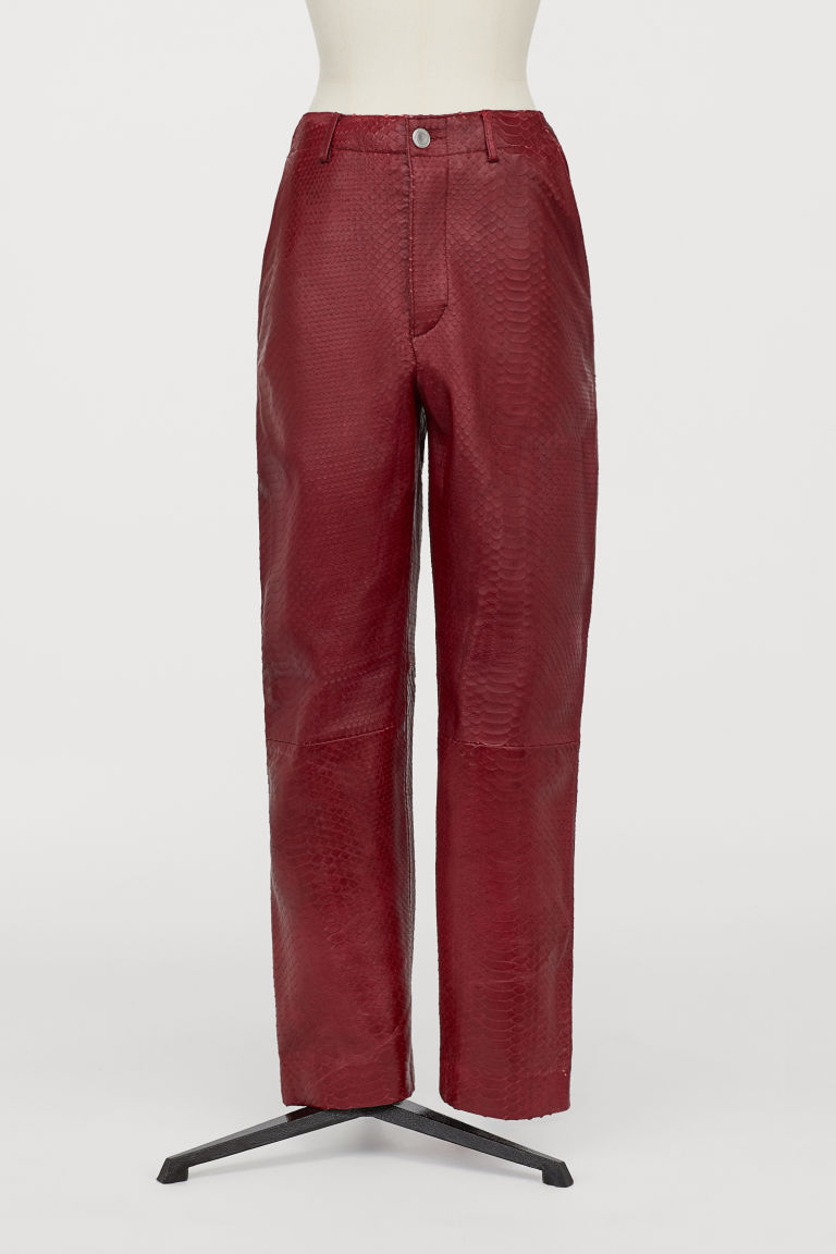 Leather trousers - Red - Ladies | H&M CN