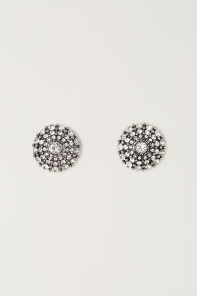 Round sparkly earrings - Silver-coloured/White - Ladies | H&M