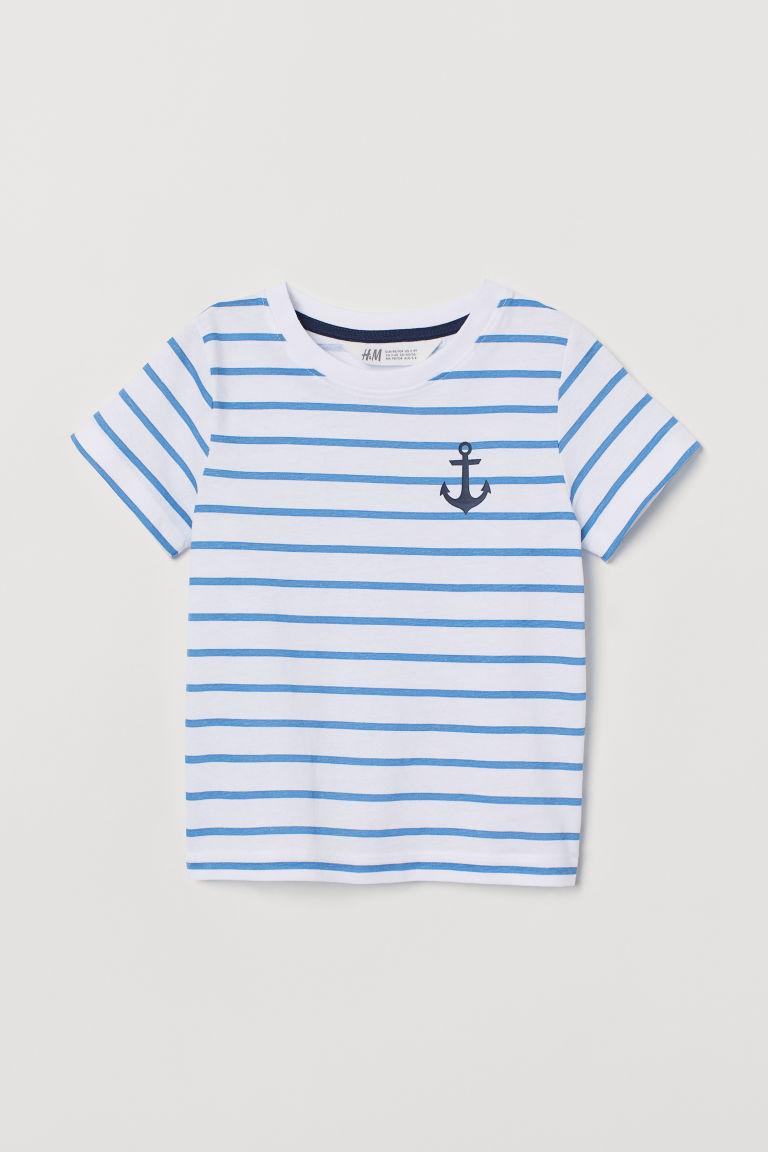 Printed T-shirt - White/Blue striped - Kids | H&M CN