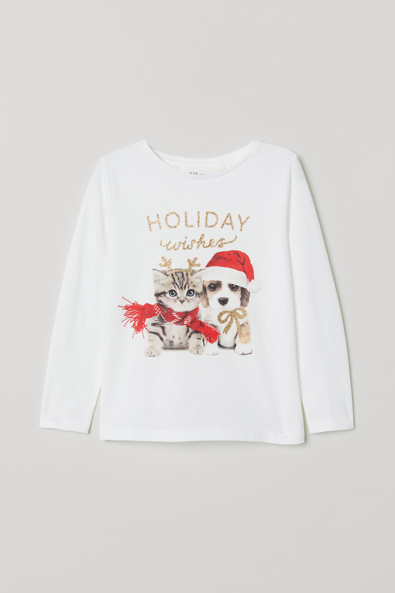 Printed jersey top - White/Holiday Wishes - Kids | H&M
