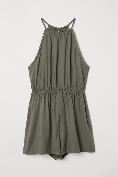 Sleeveless playsuit - Khaki green -  | H&M