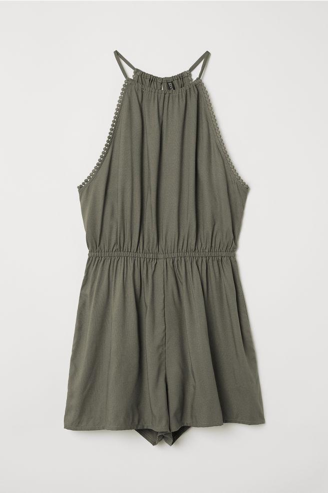 4a9c43fec54 Sleeveless Jumpsuit - Khaki green - Ladies