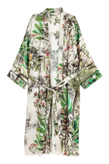 Patterned kimono - Natural white/Patterned - Ladies | H&M CN