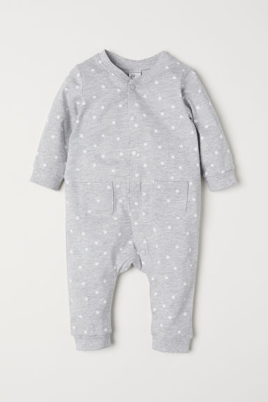 Printed jersey all-in-one suit - Light grey marl/Stars - Kids | H&M