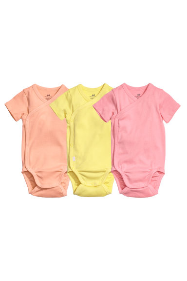 3-pack wrapover bodysuits - Yellow/Pink -  | H&M CN
