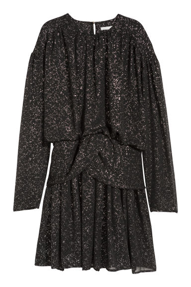 Draped dress - Black/Glittery - Ladies | H&M CN