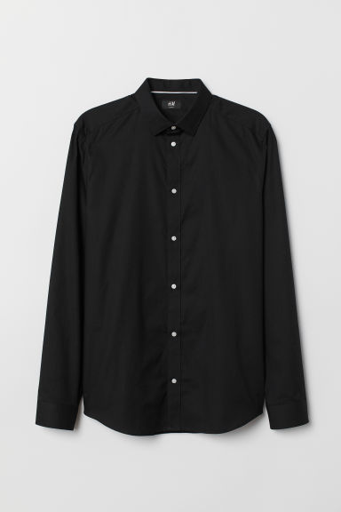 Cotton shirt Slim Fit - Black - Men | H&M GB