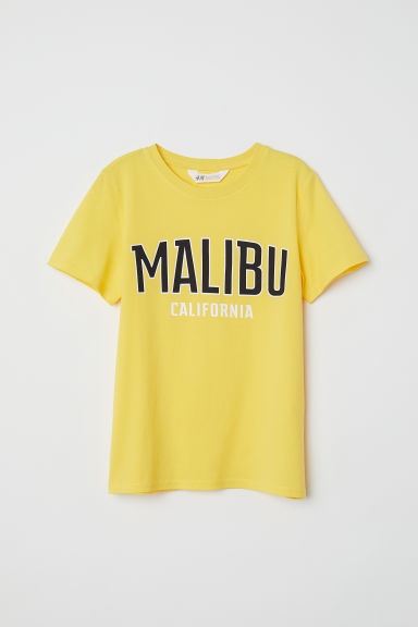 Printed T-shirt - Yellow/Malibu - Kids | H&M