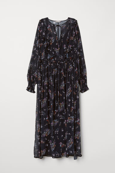 Patterned, flounced dress - Black/Floral - Ladies | H&M CN