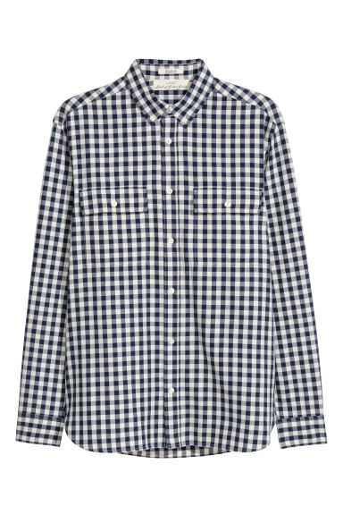 Cotton shirt Regular fit - White/Blue checked - Men | H&M