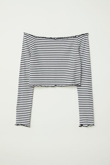 Off-the-shoulder top - White/Black striped - Ladies | H&M CN